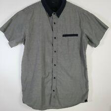 Kr3w Krew Mens Sz L Black & Grey Short Sleeve Button Up Shirt Skateboard Skate