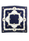 MUST DE CARTIER Blue White Silk Geometric Chain Link Graphic Scarf