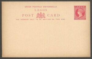 AOP Lagos QV Queen Victoria 1d red postal card unused HG #7