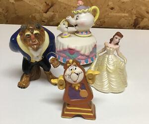 Beauty And The Beast Princess Belle Disney Ceramic Figurines Lot Vintage Rare