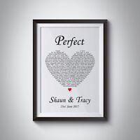 PERSONALISED Perfect Song Lyrics Ed Sheeran Wife Love Xmas Gift Black