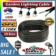 100m 2 Core Low-Voltage 1.3mm Outdoor Garden Lighting Cable Pure OFC Heavy Duty