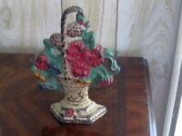 Antique Cast Iron Original Paint Multi-color Pedestal Flower Basket Doorstop