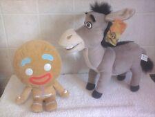 "Dreamworks Shrek 2 Donkey Soft Plush Toy 13""+ Gingerbread Man Soft Plush Toy 10"""