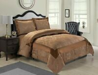 3 PCs Quilted Jacquard Bedspread Set Comforter Double,King,Super King /Caramel