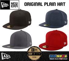 New Era NEWERA 59Fifty Black Fitted Baseball Cap Hat Plain 100% Original Custom