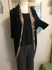 NWOT $245 Citron Full Length Shibori Silk Blend Dyed Black Duster Shrug Size M