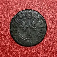 #1457 - RARE - Louis XIV Denier Tournois 1649 A Paris - FACTURE
