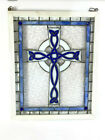Stained Glass Windows Celtic Cross Handmade 18 x 22 Blue and Green