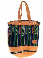 Ethnic Guatemalan Shoulder Bag Purse Leather Bucket Green Blue Brown Large
