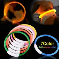 USB Rechargeable Pet Dog Collar Waterproof LED Flashing Safety Light Band New
