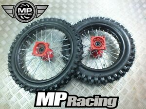 PIT BIKE WHEELS 14 front 12 rear chunky tyres WPB 10ten CW M2R Stomp red hubs
