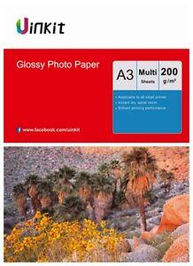 A3 Paper Inkjet Paper High Glossy Inkjet Print Photo Paper 200Gsm Uinkit Lot