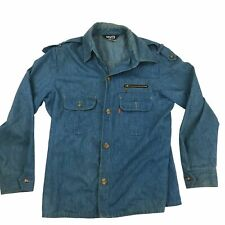 VTG 70s Levis Orange Tab Military Style Button Denim Jean Soft Blue Jacket USA L