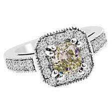 2ct Cushion Champagne Brown Diamond Halo Engagement Bridal Beaded Ring 14k Gold