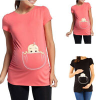 Women Pregnancy Short Sleeve Cartoon Blouse T-Shirt Tops Tee Maternity Clothes