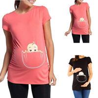 Women Pregnancy Short Sleeve Cute Cartoon Blouse Shirt Top Tee Maternity Clothes