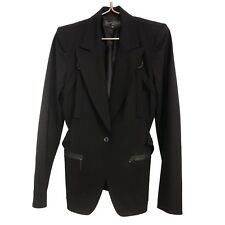 Barbara Bui Blazer Jacket Size 38 Black Wool Straps Belt Button Tuxedo Suit