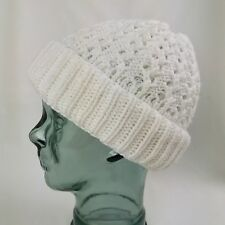 4614f71dea9 Vintage 1980s White Crochet Style Knitted Acrylic   Wool Beanie Hat one size