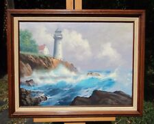 Lighthouse Painting, Signed Buck Paulson