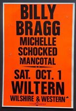 Billy Bragg/Michelle Schocked/Mancotal Vintage Boxing Style Concert Poster 88 LA