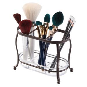 Makeup Brush Holder Bathroom Vanity Cosmetics Organizer 3 Compartments Storage