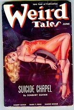 "WEIRD TALES June 1938 Classic Brundage bondage cover ""Suicide Chapel"""