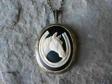 HORSE AND HORSESHOE CAMEO LOCKET - ANTIQUE BRONZE, VINTAGE LOOK, UNIQUE, LUCKY