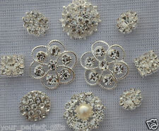 10 Assorted Rhinestone Pearl Button Brooch Embellishment Pearl Crystal Wedding