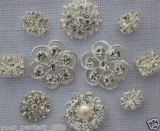10 Assorted Rhinestone Pearl Button Brooch Embellishment Pearl Crystal Wedding