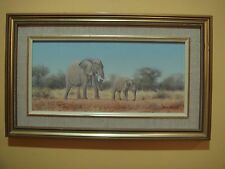 WIM KOSCH - AFRICAN BUSH ELEPHANT & CALF - ORIGINAL - SIGNED & FRAMED - UNIQUE