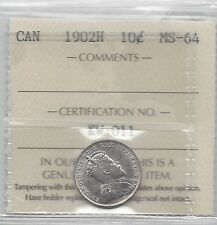 **1902H**, ICCS  Graded Canadian,  10  Cent, **MS-64**