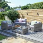 4pc Grey Rattan Garden Furniture Set 2 Seater Sofa, Chairs & Glass Topped Table