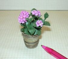 "Miniature Blooming LARGE ""LAVENDER"" Hydrangea in Aged Resin Pot: DOLLHOUSE 1/12"
