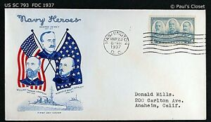 """US SC 793 FDC WITH CACHET """"NAVY HEROES"""" 23 MAR 1937 4¢ SAMPSON, DEWEY, & SCHLEY"""