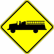 Fire Truck Crossing - 24 x 24. A Real Sign. 10 Year 3M Warranty.