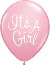 """Light PINK Classy Script Baby Shower Party (6) It's a GIRL Latex 11"""" Balloons"""