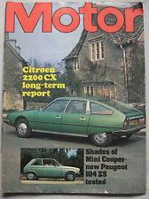 Motor magazine 20/11/1976 featuring Peugeot 104 ZS road test, Citroen CX