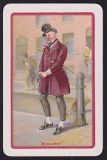 1 Single VINTAGE Swap/Playing Card EN DICKENS MAN CAT 'MICAWBER MI-' H/Bone