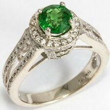 1.90 CT NaturaI Tsavorite Diamond Halo Ring. Sz 7.5 Top Color Rare Gemstone