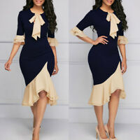Elegant Women Dress Bodycon Evening Cocktail Midi Skirt Work Office Ruffle Party