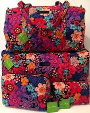 Vera Bradley FLORAL FIESTA LARGE SMALL DUFFEL & COSMETIC SET Bag Tote Weekender