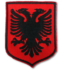 Albanian Shield Country Flag. Albania Embroidered Patch Badge. MADE IN UK