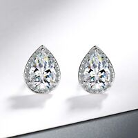 Water Drop Crystal Stud Earrings 925 Sterling Silver Womens Girls Jewellery Gift