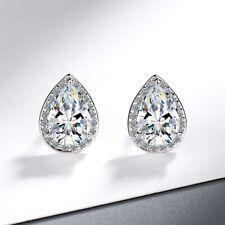 Water Drop Crystal Stud Earrings 925 Sterling Silver Womens Girls Jewellery Gift