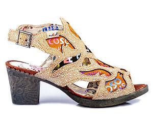 TMA 1109 Damen Sandaletten Pumps Echt Leder Sommer Schuhe braun alle Gr. 36-42