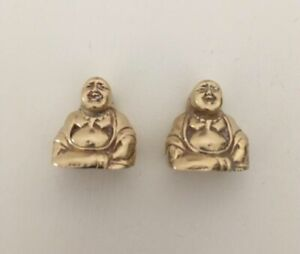 Pair Of Midcentury Vintage Brass Laughing Buddha Place Card / Photo Holders