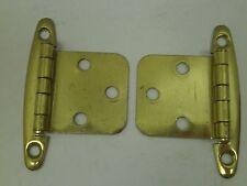 Nos Vintage [10] Pair Cabinet Hinge Hardware Brass Finish Flush Md Kitchen