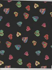 1 yd Valentine hearts quilt cotton fabric black background sewing novelity