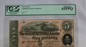 Confederate Currency $5, 1864, PCGS 63, PPQ,  T-69, Plate C